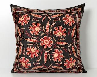suzani cushion cover vintage pillow sofa pillow embroidered suzani pillow cover embroidered pillow suzani pillowcase black floral pillow