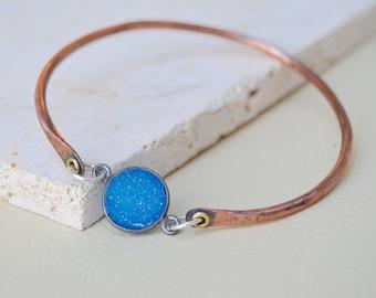 Druzy Gemstone Sterling Copper Bangle . Stacking Bracelet. Blue Gemstone. Cold Connections . Rustic . Earthy . Boho .