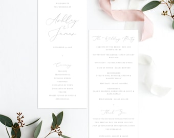 Elegant Wedding Ceremony Program Template Gray text Wedding Program Printable Editable in Templett Wedding Template DIY Wedding Ceremony