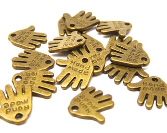 "30 ""hand made"" charms bronze metal 1.2 cm"
