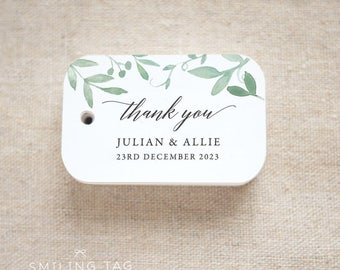 Thank You Greenery Wedding Favor Tags - Personalized Gift Tags - Bridal Shower - Thank you tags- Party Tags- Favor Bag Tag (Item code: J690)