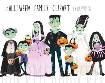 Halloween family Clipart, Halloween Clipart, Instant Download PNG file - 300 dpi