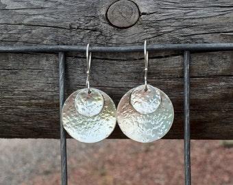 Hammered sterling silver drop earrings, dangle earrings, silver dangle earrings, silver drop earrings, boho earrings, gift for her