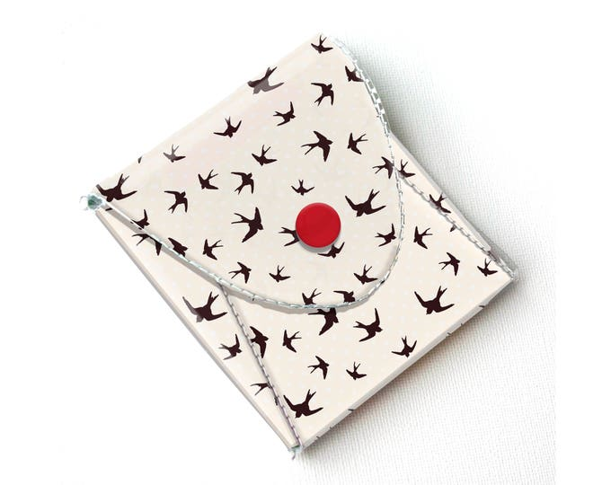 Vinyl Pouch - The Birds / birds, teal and red, clouds, sky, wallet, vegan, change, snap, small, pocket wallet, gift, hitchcock, sewing