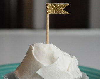 Gold Glitter Cupcake flag toppers