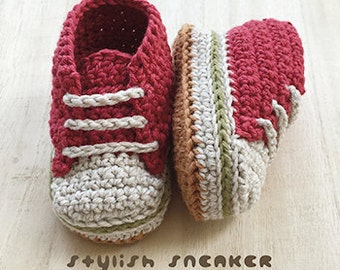 Crochet Baby Pattern Stylish Baby Sneakers Crochet Patterns Baby Shoes Crochet Booties Crochet Pattern Newborn Sneakers Newborn Shoes Red