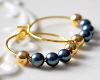Tahitian Pearl Earrings, Swarovski Pearl, Gold Plated Hoops, Small and Lightweight, Dark Grey Beaded Jewelry