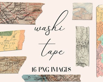Maps Washi Tape, Old Maps Patterns, Washi Tape Clipart, Washi Tape Graphics, 16 PNG Tapes For Decoration, Labels And More, BUY3FOR6