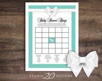 Instant Download Aqua Baby Shower Bingo for Girl or Boy, Classy White Bow Bingo Cards, Teal Blue Baby Shower Bingo Game 53A
