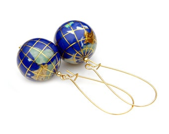 Exotic World Travel Globe Earrings Blue Lapis Pearl Inlay STATEMENT Dangles Tourist Holiday Vacation Couture Adventure Style by Mei Faith