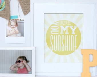 you are my sunshine print, sunny nursery wall art