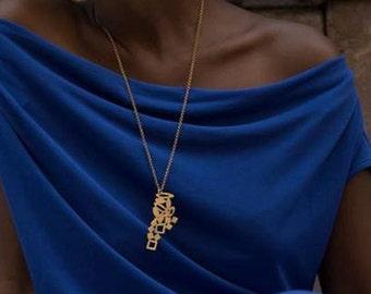 Long Necklace, Geometric Pendant, Long Pendant Necklace, Gold Statement Necklace, Long Geometric pendant, Modern Long Statement Necklace