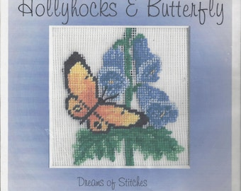 "Clearance - ""Hollyhocks & Butterfly"" Silk Gauze Kit by Dreams of Stitches"