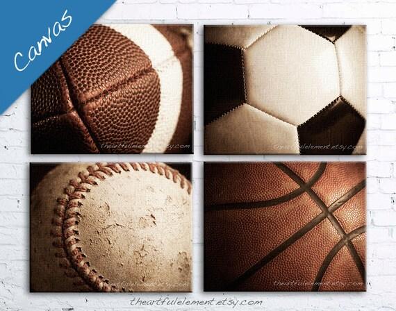 GET 20% OFF TODAY! Large wall art, Sports, Canvas art, Home decor, Teen room decor, Set of 4 on Canvas / Basketball Football Baseball Soccer