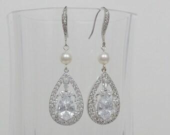 Bridal Earrings, Cubic Zirconia Crystals, Teardrop, Swarovski Pearls, Ear Wires, Aubrey Earrings - Will Ship in 1-3 Business Days