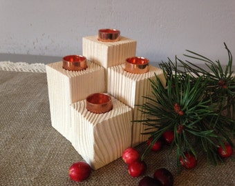Candleholder, Candlesticks holder, A set of 4 handmade wooden candle holders