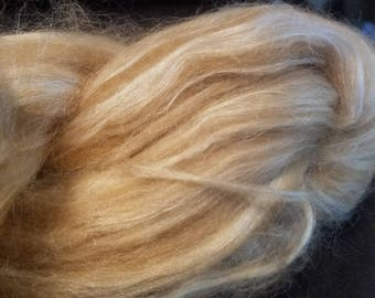 CRAZY Baby Camel and  Silk 50 50 blend combed top spinning fiber 4 oz Golden Glow