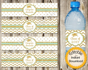Editable Water Bottle Labels, Graduation, Mint Gold, Editable in Acrobat Reader, Instant Download, DIY, Printable