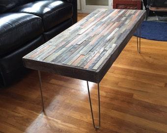 Coffee Table - Industrial Furniture - Modern Reclaimed Rustic Barn Wood with Vintage Steel Legs