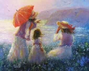 Mother Daughters Art Print, mother paintings children at beach, two daughters, three sisters, two sisters art ocean, Vickie Wade Art