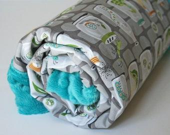 Baby Boy Blanket, Minky Baby Blanket, Baby Boy Nursery Bedding, Baby Shower Gift, Gray Bugs in Jars, Self Binding Blanket, Backyard Baby