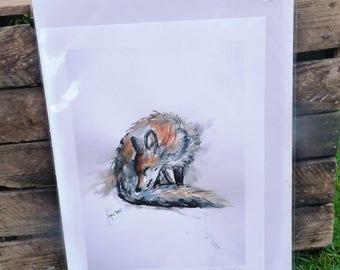 Fox Giclee Print - Grooming my Tail