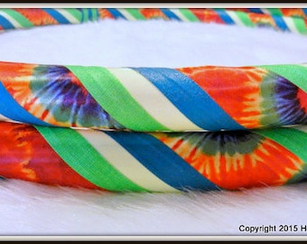 TiE DyEd GLOW in The DARK Hula Hoop 'HaPpY HiPpiE GLoW.'  Custom Travel Hoop. Made YOUR Perfect Size.