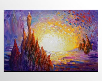 Original Oil Painting, Landscape Painting, Canvas Art, Wall Art, Abstract Art, Cypress Tree Painting, Canvas Painting, Large Art, Canvas Art