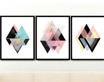 Triptych, Scandinavian Prints, Geometric Art, Printable Art, Abstract Art , Textured Art, Set of 3 Prints, Digital download,
