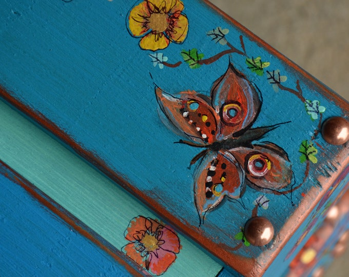 Country Cottage Style Rustic Reclaimed Wood Turquoise Coffee Table with Hand Painted Cottage Flower, Butterfly & Ivy Leaves Made to Order
