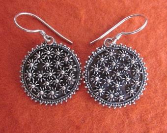 Balinese Sterling Silver Metalwork Earrings / silver 925 /  Dangle earrings / Bali handmade jewelry / (#75e)
