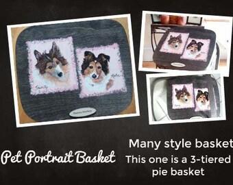 Panier, panier portrait d'animal, panier de portrait de chien, panier à tarte, couvercle du panier peint, panier de rangement, panier de jouet, panier de pique-nique,