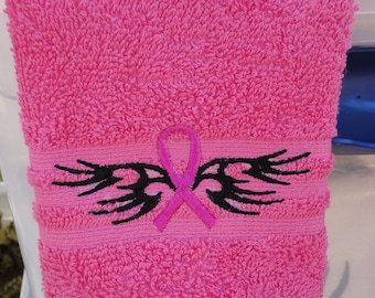 Believe Breast Cancer Awareness - Embroidered Washcloth - Shown on Pink