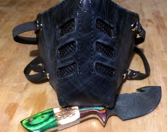 """Leather MasK """"killer bug"""" [Legend motorcycle 3] by SanDiegoChopper [All Black] (black leather designer black stitching) biker / caferacer / chopper"""