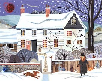 Virginia Woolf Christmas Card·Holiday Card·Traditional Snow Scene·Bookish·Writer's House·Bloomsbury Group·Dog·Amanda White Design·British