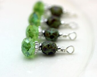 Green AB Multifaceted Rondelle Crystal and Green Aqua Opal Travertine Czech Crystal Bead Earring Dangle Necklace Charm Drop Set