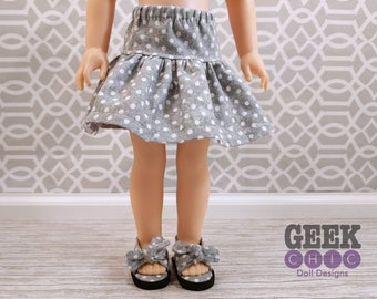 "Gray Polka Dot Skirt, fits 14.5"" dolls"