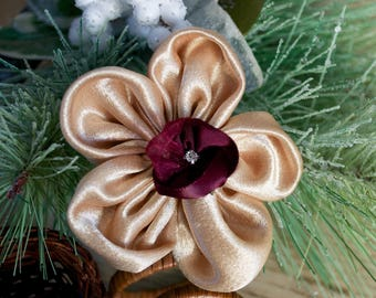 Gold fabric flower with burgundy flower in center - headband or clip for infant-adult