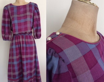 1970's Purple Plaid Cotton Poly Dress Size XS Small by Maeberry Vintage