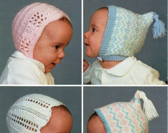 baby hats knitting patterns bonnets lacy fair isle caps Newborn-4 months 4 ply DK baby knitting patterns pdf instant download