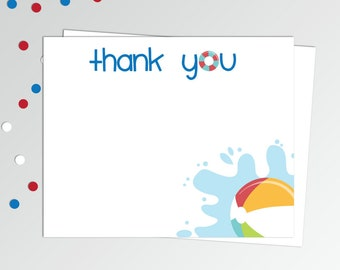 "Pool Party Thank You Cards - Printable Thank You Notes - Birthday Thank You Notes - 4x5"" Flat Card - Printable Card - Beach Ball Thank You"