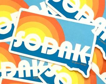 SoDak Retro Sticker - SoDak Lake Day Sticker - South Dakota Summer Sun Lake Vinyl Decal - South Dakota Outline Lake  Sticker Oh Geez Design