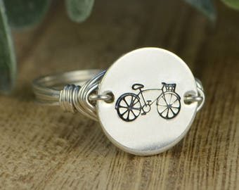 Bicycle Ring- Hand Stamped Silver, Yellow, OR Rose Gold Filled Wire Wrapped Ring- Any Size 4, 5, 6, 7, 8, 9, 10, 11, 12, 13, 14