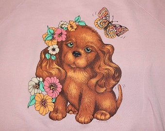 totally cute 1980s Puppy w Butterfly Sweatshirt - sz xl - vintage pink lisa frank crewneck shirt
