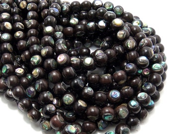 Ebony with Shell Inlay, 8mm, Round, Smooth, Artisan Handmade Bead, Small, 8 Inch Strand - ID 1484