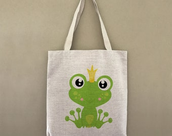 Custom Tote Bag Prince Frog Customizable Personalized Gift For Her Gift For Him Shopping Bag Bulk Farmers Market