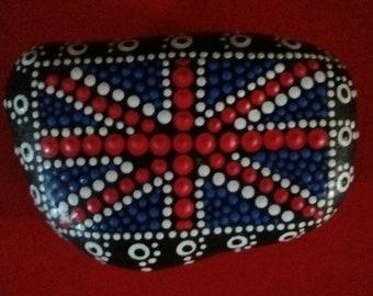 Dot painted Union flag (union Jack) rock