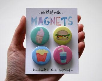 Take Away Food Magnets, Hamburger Magnet, Fries Magnet, Soft Serve Magnet, Food Fridge Magnets
