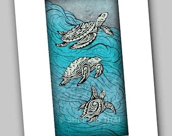 Underwater Tribal Swimming Turtles Animal Illustration Design, Art Print, Sale