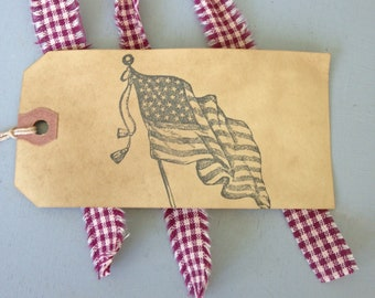 25 Large United States Flag Hang Tags  Primitive Coffee Stained  Strung Manila Tags Patriotic